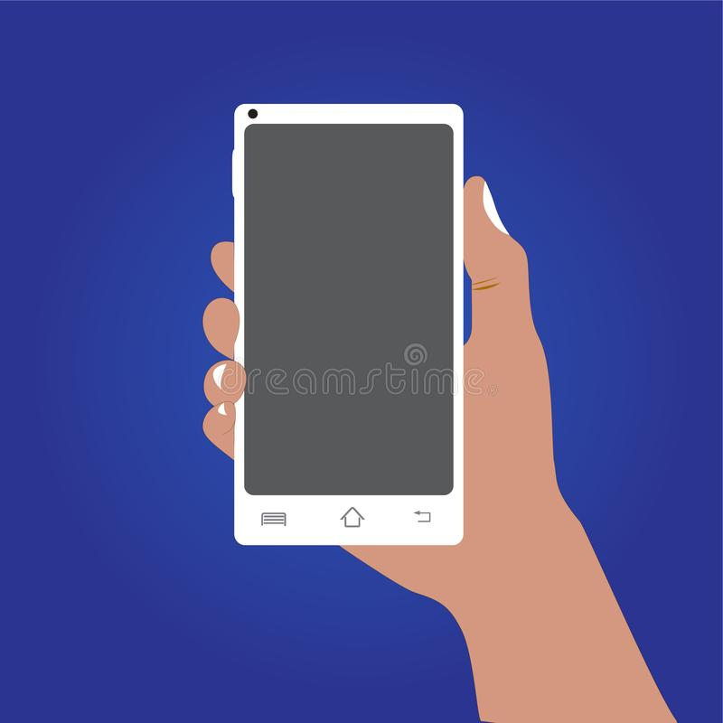 Right hand hold a cell phone on blue background. stock illustration
