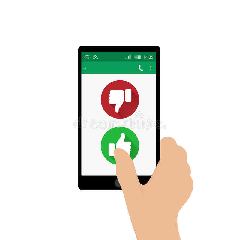 Right hand holding mobile phone and pressing Yes button. Vector illustration. App window. Green and red thumbs up and down buttons royalty free illustration