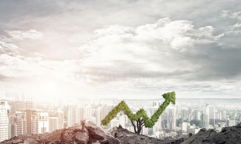 Right investment for getting income. Market growth and success as growing green tree in shape of arrow royalty free stock images