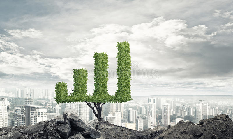 Right investment for getting income. Market growth and success as growing green tree in shape of graph royalty free stock images