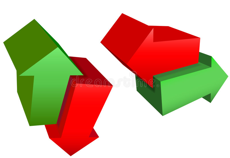 Right Left Up Down Red Green 3D Direction Arrows stock illustration