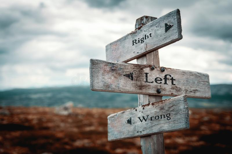 Right, left, wrong wooden signpost in nature stock image
