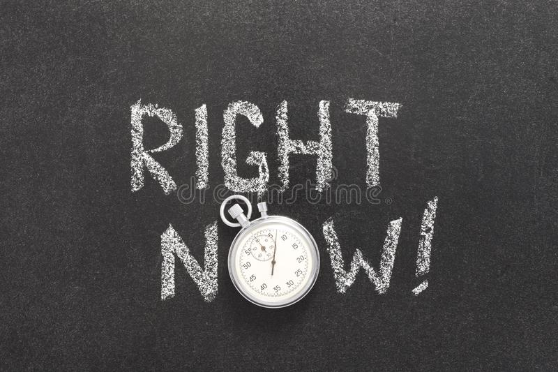 Right now watch. Right now exclamation handwritten on chalkboard with vintage precise stopwatch used instead of O royalty free stock photos