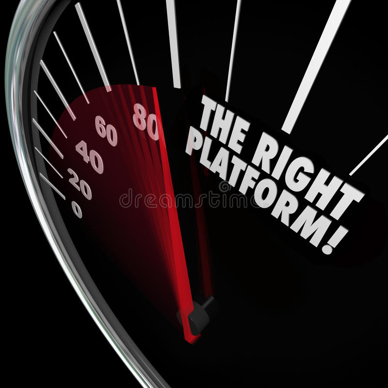 The Right Platform Speedometer Choose Best System Process Manage. The Right Platform words on a speedometer to illustrate the best system or proces for managing vector illustration