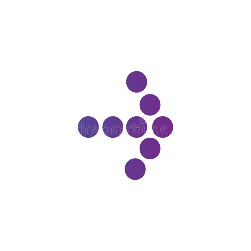 Right purple gradient dotted arrow icon. Continue icon. Next sign. East arrow. Vector illustration isolated on white background royalty free illustration