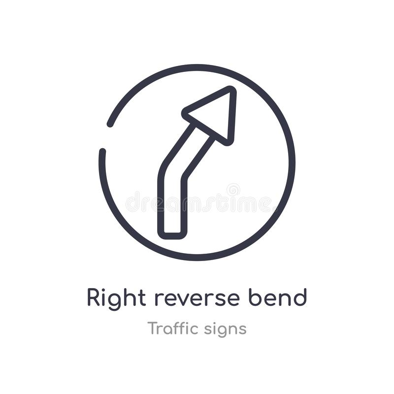 right reverse bend outline icon. isolated line vector illustration from traffic signs collection. editable thin stroke right vector illustration