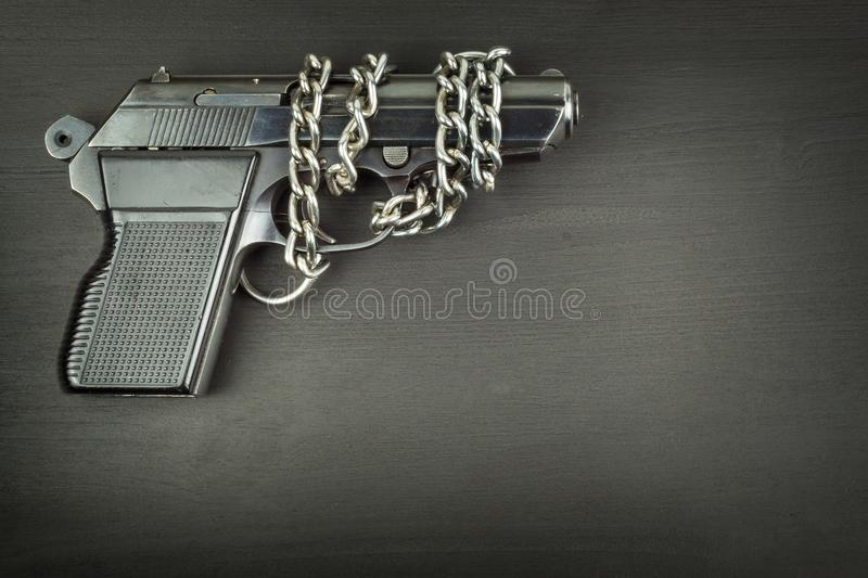 Right to bear arms. Arms control. Detail on the gun. Place for your text. Sales of firearms. stock images