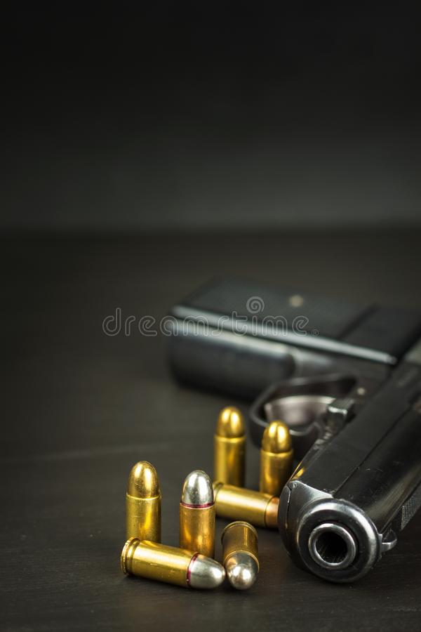 Right to bear arms. Arms control. Detail on the gun. Place for your text. Sales of firearms. stock photo
