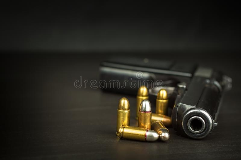 Right to bear arms. Arms control. Detail on the gun. Place for your text. Sales of firearms. royalty free stock photo