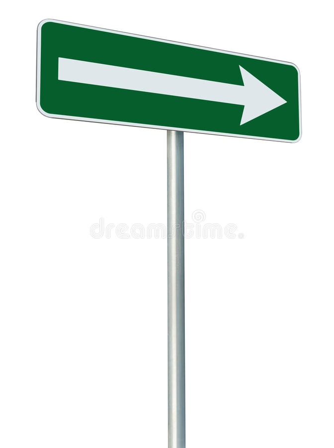 Right traffic route only direction street sign turn pointer green isolated roadside signage perspective white arrow icon pole post. Right traffic route only stock image