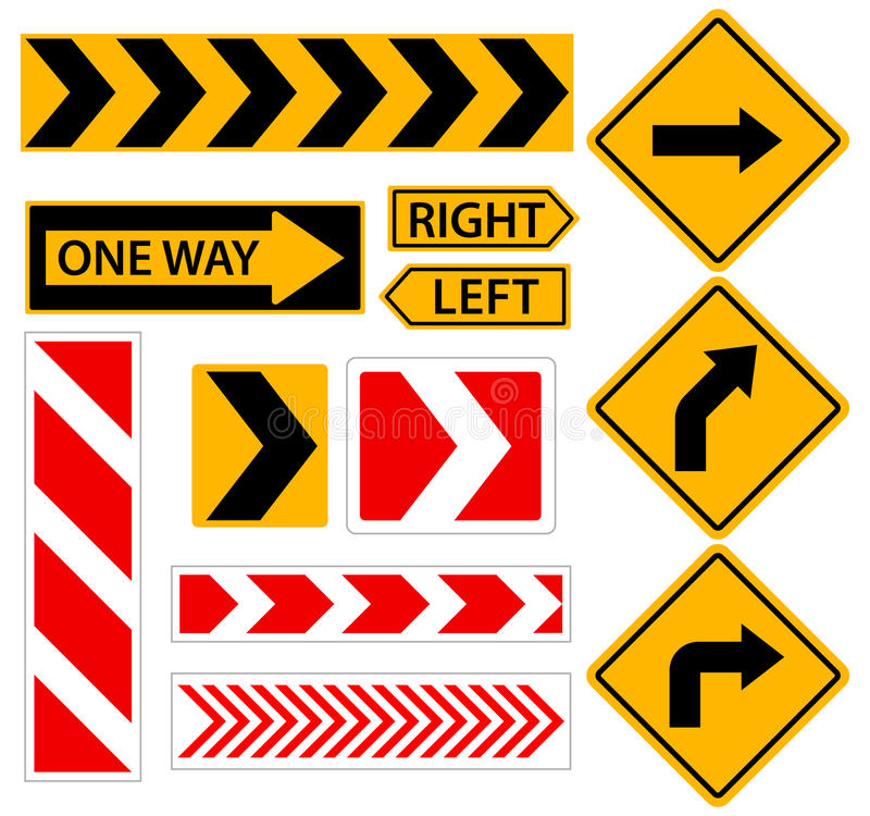 Right turn. Road sign with arrow. Set of vector illustrations. vector illustration