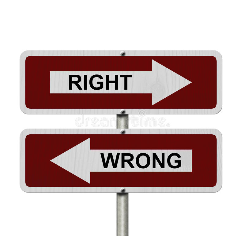Right versus Wrong stock photography