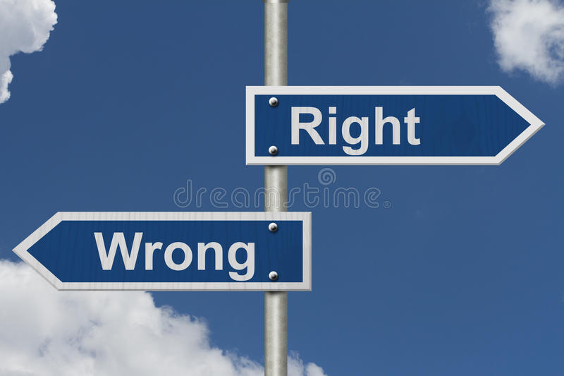 Right Versus Wrong royalty free stock image