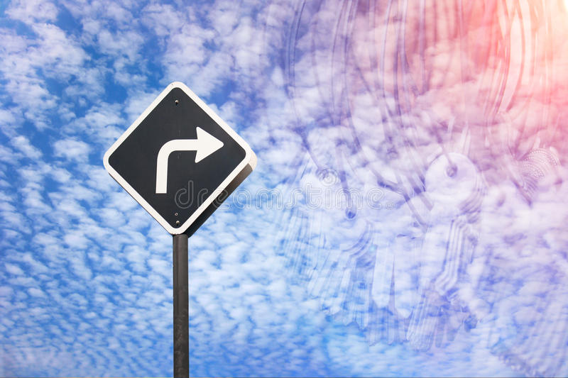 Right way concept by traffic sign and many key. In blending mode royalty free stock images