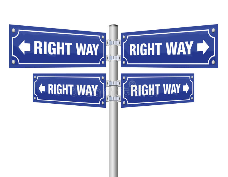 Right Way Guidepost. Showing in four different directions that lead always to the desired result as a symbol for confidence, optimism, trust, assurance or vector illustration