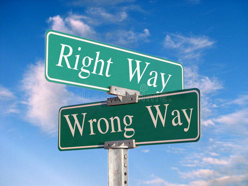 The Right Way or Wrong Way royalty free stock images