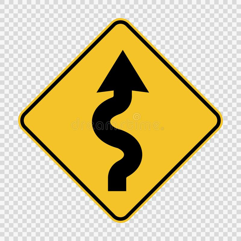 Right winding road Sign on transparent background. Right winding road Signs on transparent background royalty free illustration