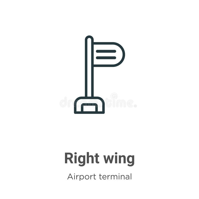 Right wing outline vector icon. Thin line black right wing icon, flat vector simple element illustration from editable airport. Terminal concept isolated on stock illustration