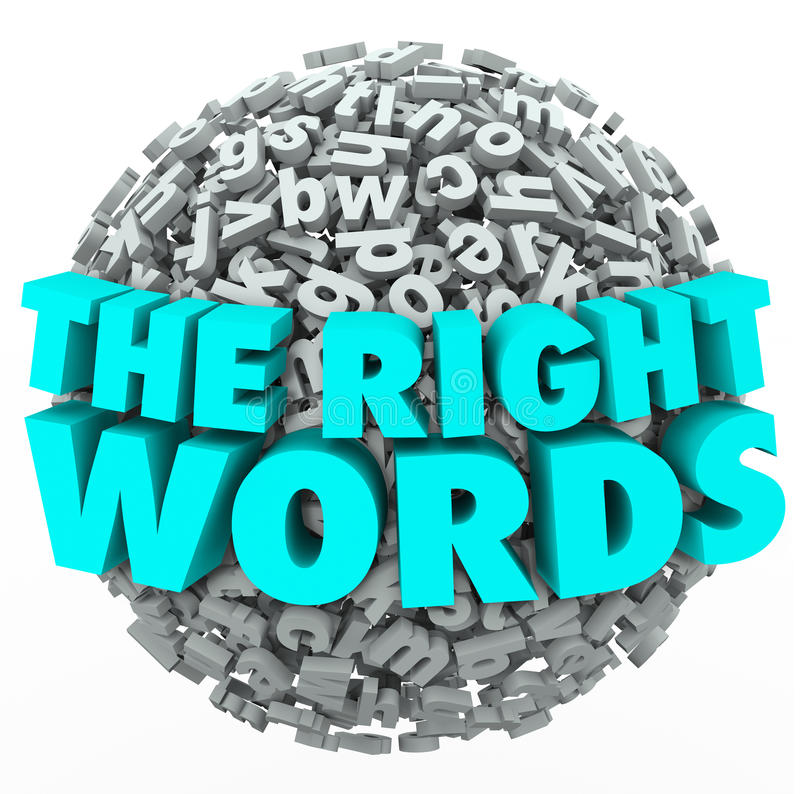 Right Words Letter Sphere Ball Finding Best Message Communication. The Right Words in 3d letters on a ball or sphere to illustrate finding the best message for vector illustration