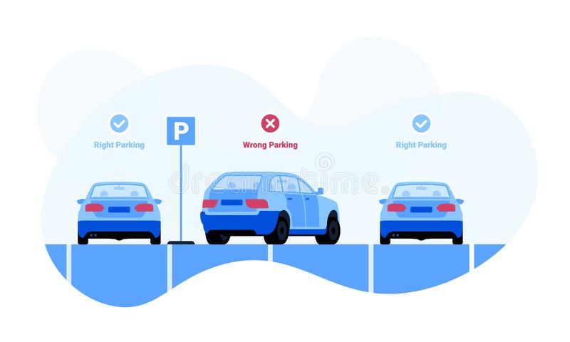 Right and wrong car parking examples illustration. Right and wrong car parking examples vector illustration for web and printing stock illustration