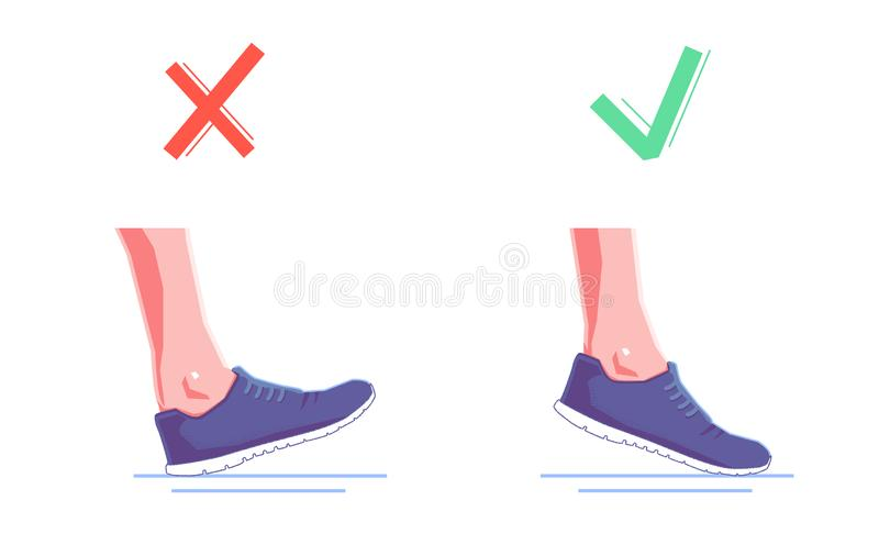 Right and wrong foot position when running. Natural running. Healthy steps of run concept. Vector flat isolated stock illustration
