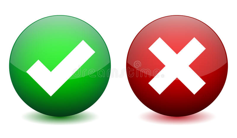 Right and wrong icon stock vector. Illustration of tick