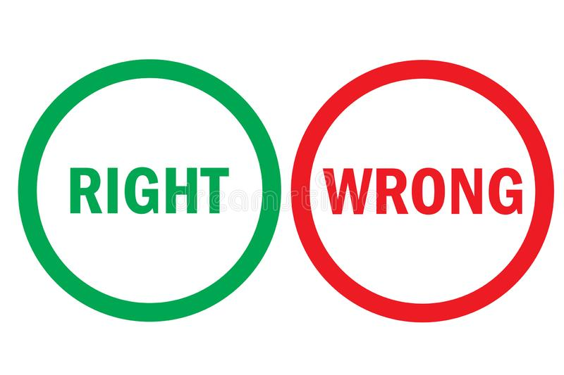 Right or wrong positive negative assessment red green buttons. Simple concept pros cons, correct or mistake. royalty free illustration