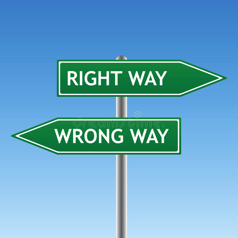 Right And Wrong Way Sign (vector) Stock Photo