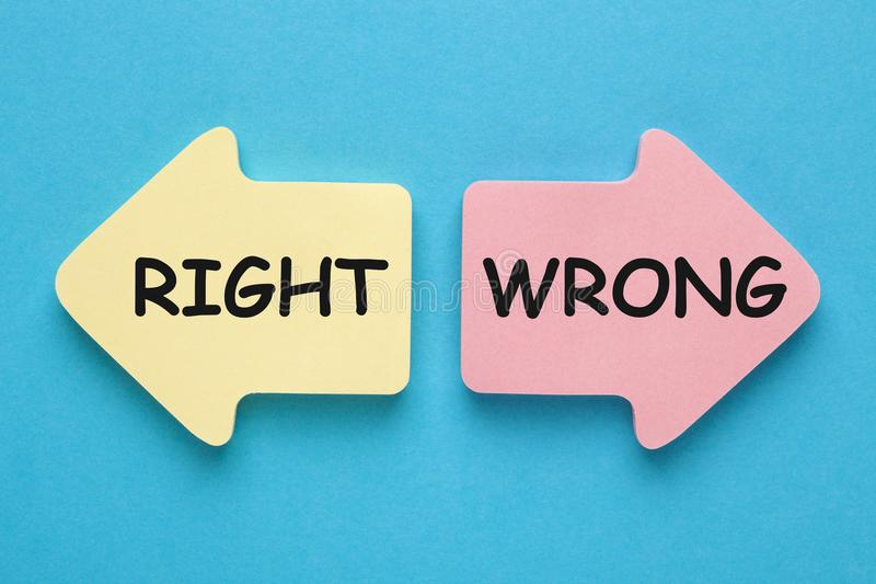 Right or Wrong Concept royalty free stock photography