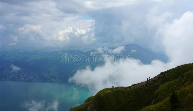 The Rigi Mountain with climbers in Luzern, Switzerland. The views of the Rigi Mountain stock images