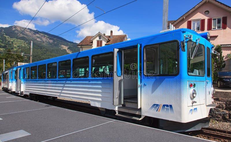 Rigi Railways Train. Arth-Goldau, Switzerland - 28 August, 2014: a Rigi Railways train. Rigi Railways (German: Rigi-Bahnen) is a group of railways on Mount Rigi royalty free stock photos