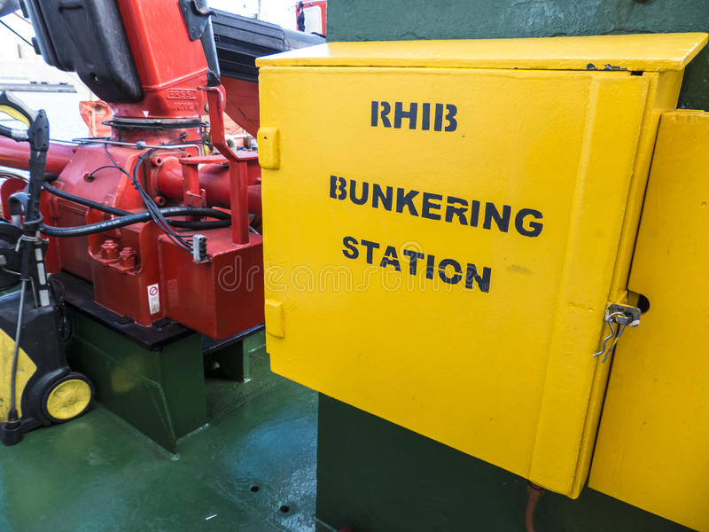 Rigid-Hulled Inflatable Boat Storage Station on a ship. stock photo