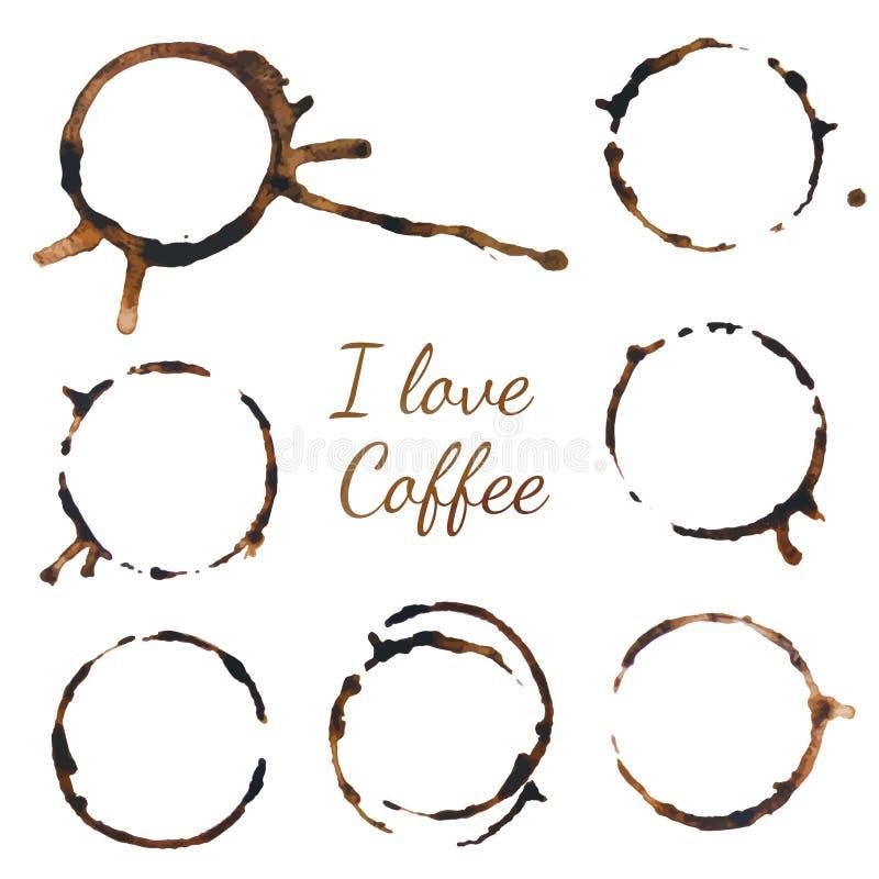 Rigns del café Ilustración del vector en el fondo blanco Remonta el café stock de ilustración