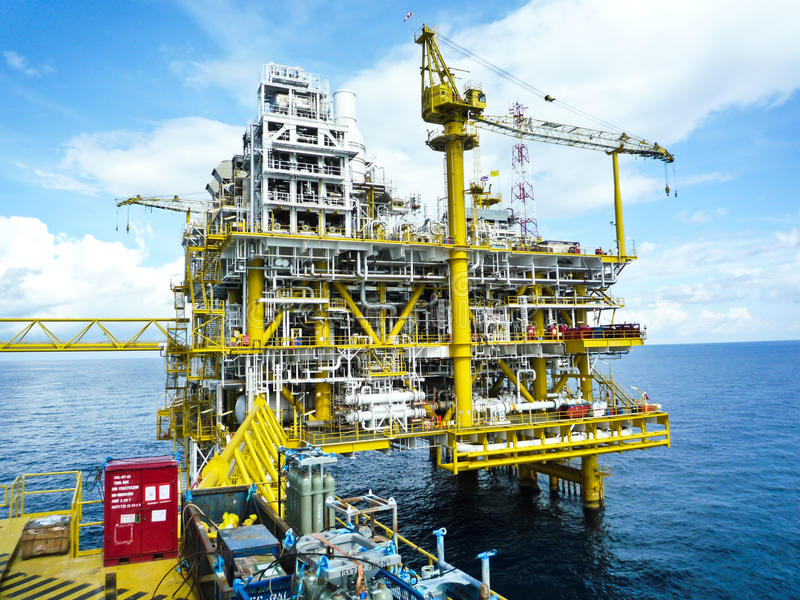 Rigs offshore Oil refinery. At thai ocean royalty free stock image