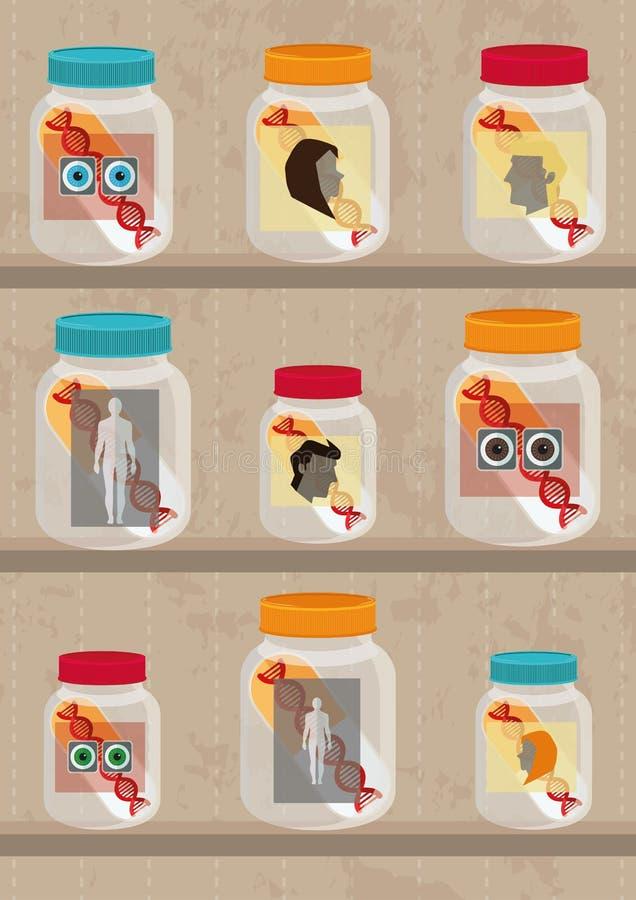 Rigth gene and genetic manipulation stock illustration