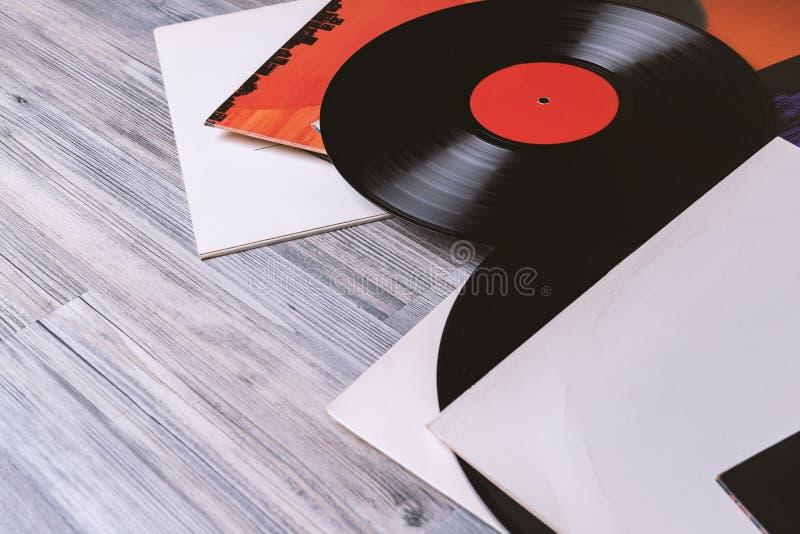 Riguarda l'album e l'annotazione di vinile nera immagine stock libera da diritti
