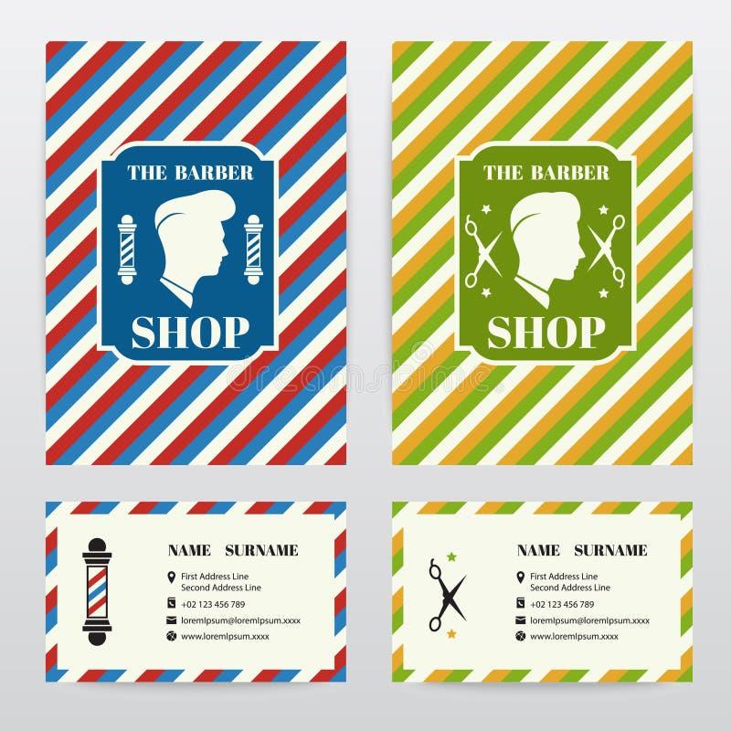 Riguardi e cardi la progettazione del modello per il negozio di barbiere illustrazione vettoriale