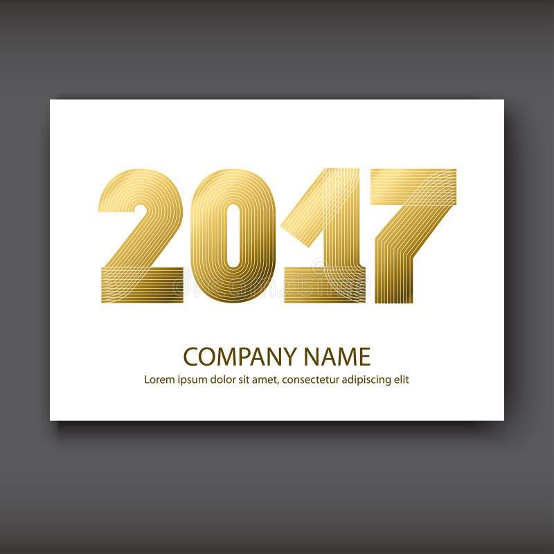 Riguardi i numeri del rapporto annuale 2017, oro di progettazione moderna su bianco royalty illustrazione gratis