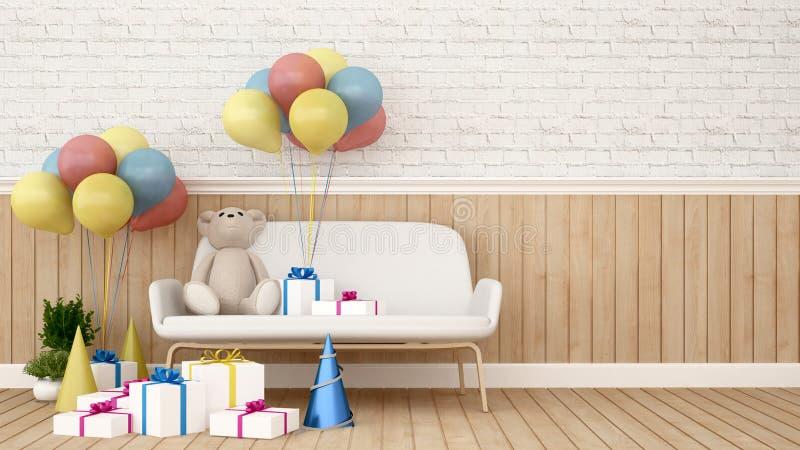 Riguardi il sofà con il pallone ed il regalo nella stanza del bambino - la rappresentazione 3D illustrazione vettoriale