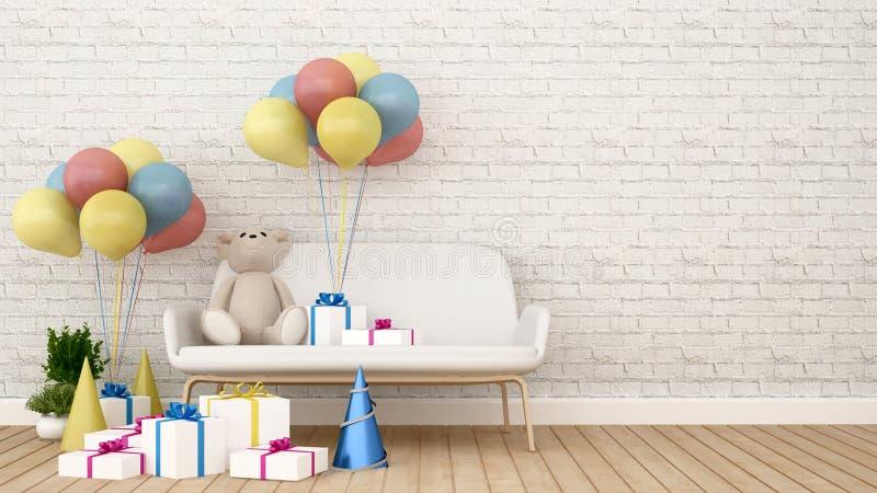 Riguardi il sofà con il regalo ed il pallone nella stanza del bambino - la rappresentazione 3D royalty illustrazione gratis
