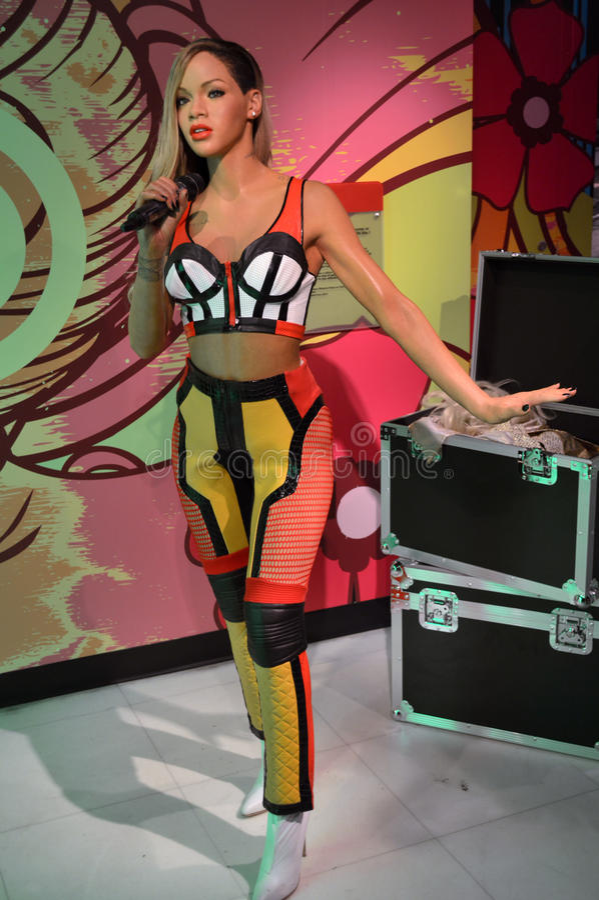Rihanna wax statue stock images
