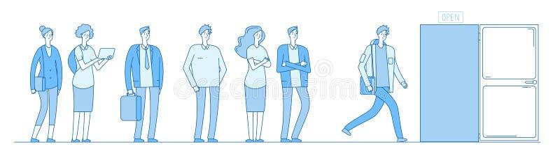 Rij bij deur De volwassen mensenklanten groeperen zich in vrijetijdskleding die zich in lange lijnrij bevinden buiten open deur V vector illustratie