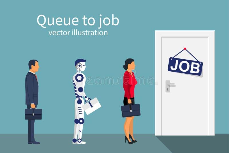 Rij om man vrouw en robot te werken royalty-vrije illustratie