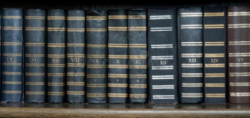Rij van Antieke Boeken in Bibliotheek stock afbeelding