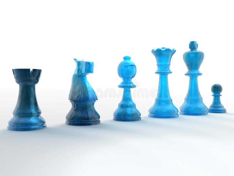 Rij van blauwe schaakstukken stock foto's