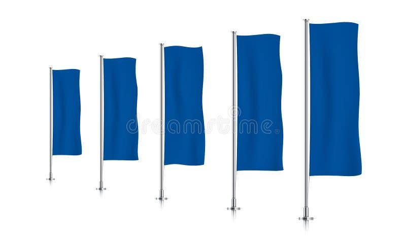 Rij van blauwe verticale bannervlaggen stock afbeeldingen