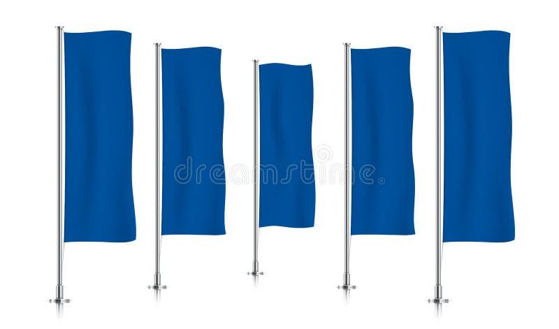 Rij van blauwe verticale bannervlaggen stock illustratie