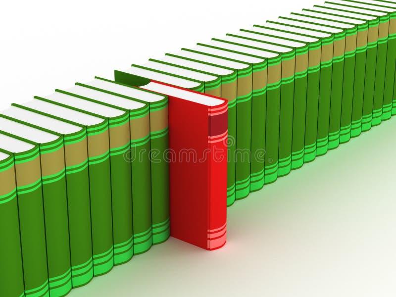 Rij van boeken op een witte achtergrond. royalty-vrije illustratie