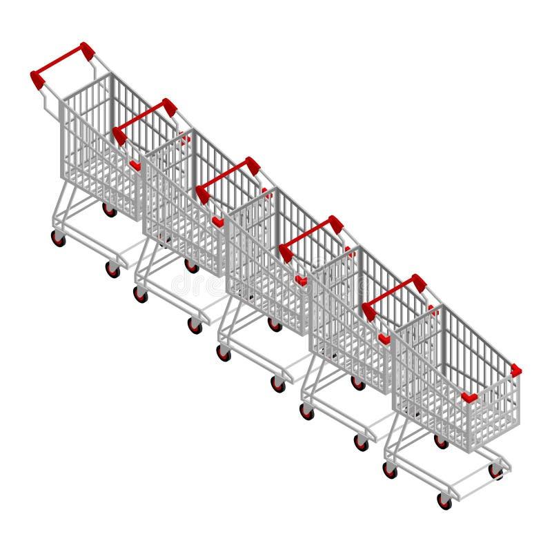 Rij van Boodschappenwagentjes Velen het winkelen karretjeisometrics stock illustratie