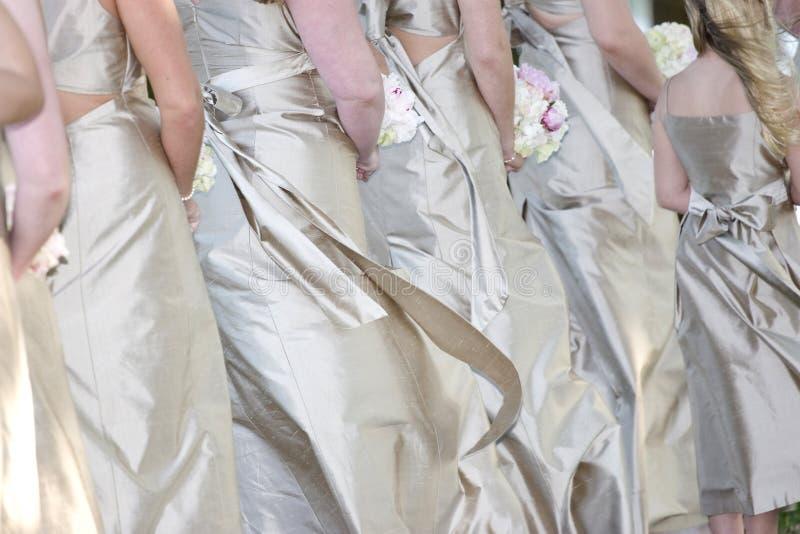 Rij van bruidenmeisjes royalty-vrije stock fotografie